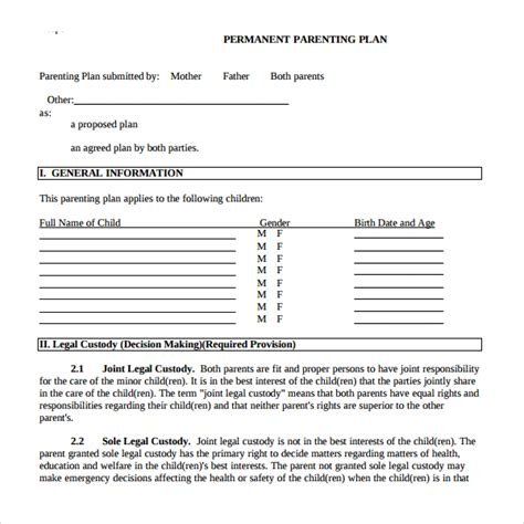 9 Parenting Plan Templates Sle Templates Parenting Plan Template