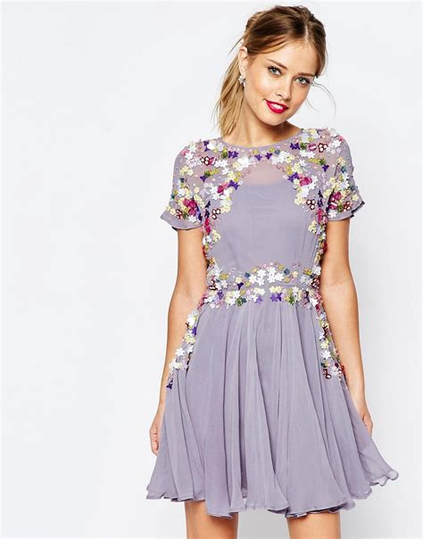Dresses For All Seasons From Salonkitty asos salon 3d floral embellished mini skater dress in gray