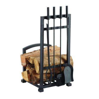 pleasant hearth 4 log holder and fireplace