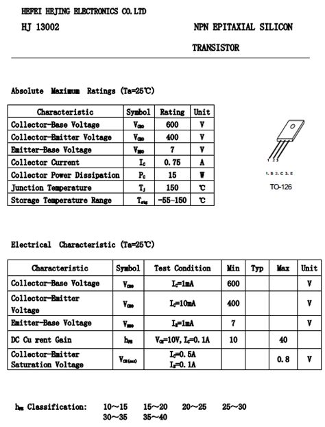 transistor npn datasheet pdf hj13002 datasheet pdf vcbo 600v npn transistor