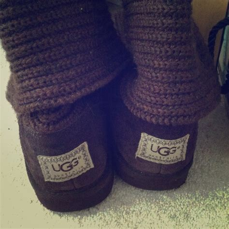 ugg knit boots with buttons ugg authentic brown knit button cardy ugg boots size 5
