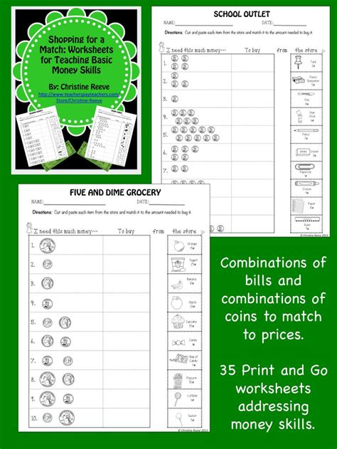 Money Skills Worksheets by Money Skill Worksheets Shopping For A Match Special Ed