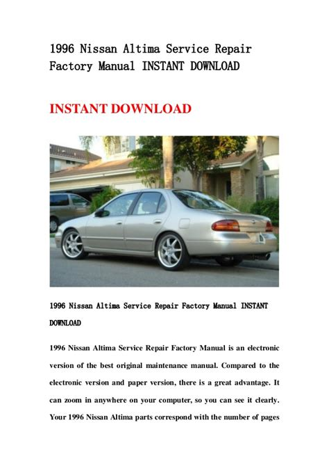service and repair manuals 1996 nissan altima head up display 1996 nissan altima service repair factory manual instant download
