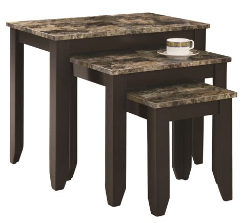 nesting tables 7982n cappuccino marble look top 3pcs nesting tables from monarch i 7982n coleman furniture