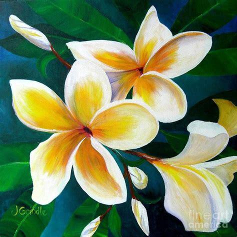 plumeria painting yellow plumeria canvas print canvas art by jerri grindle