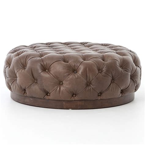 plateau  tufted leather cocktail ottoman zin home
