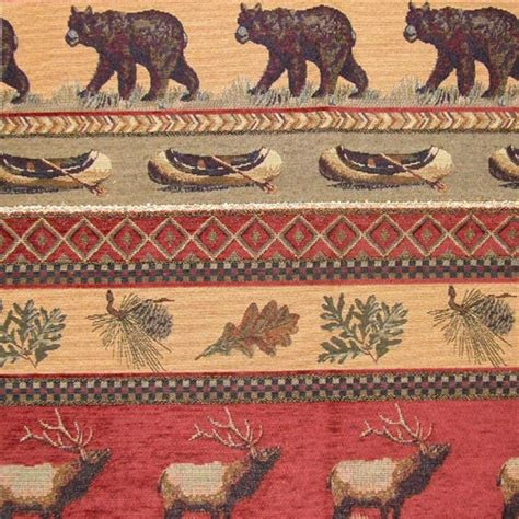 wildlife upholstery fabric rh frontier upholstery fabric elk bear canoe pinecone