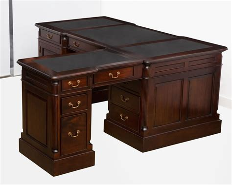 office desk with return everingham mahogany desk with return black leather