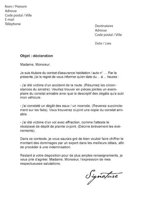 Declaration De Sinistre Modele De Lettre lettre de d 233 claration de sinistre assurance mod 232 le de