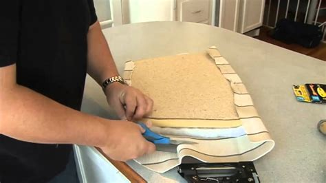 how to recover a bench seat cushion recovering a seat cushion on a chair youtube