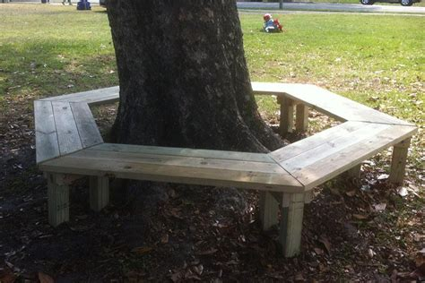 bench around the tree need more seating for your play area try building this