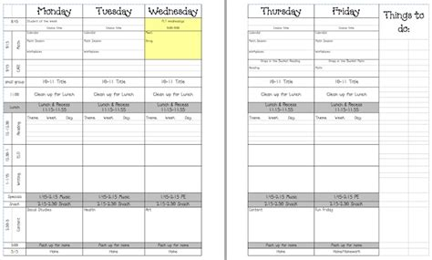 day plan template for teachers 5 day lesson plan template education