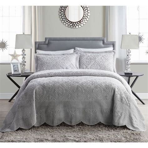 grey king coverlet new twin full queen king 3 pc motif quilt set coverlet