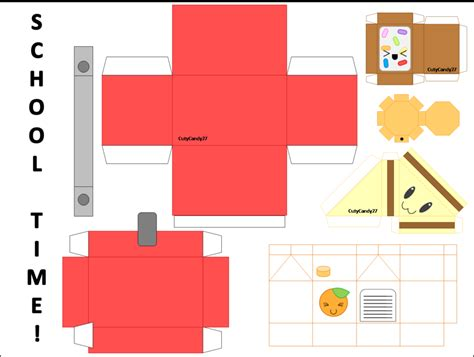 food papercraft template school time lunch papercraft by cutycandy27 on deviantart