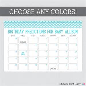 baby shower calendar template baby birthday predictions printable chevron baby shower