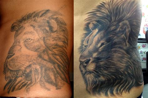 lion cover up tattoo cover up before and after mobile ink