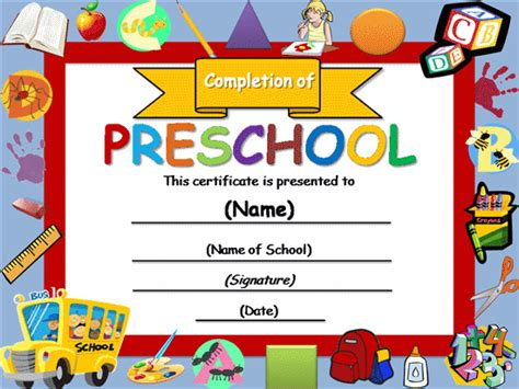 preschool certificate template the page you requested is unavailable