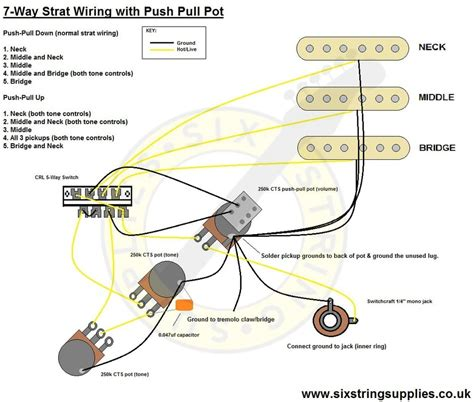 7 way strat wiring diagram using a push pull switch