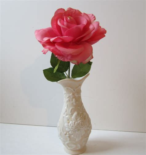 One Flower Vase by Silk Flower Arrangement With One Single Pink In A Vintage