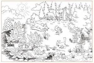 desenho de floresta com animais para colorir tudodesenhos