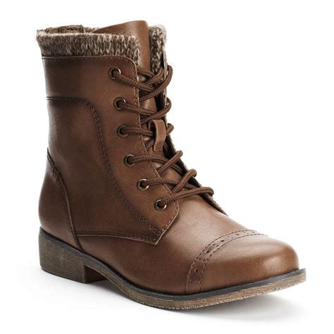 kohls boots for mudd s lace up knit cuff boots brown
