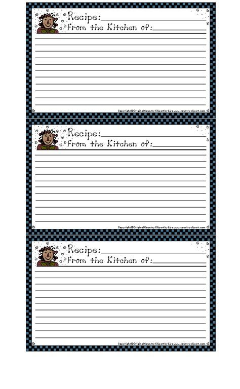 Primitive Recipe Card Template by 300 Free Printable Recipe Cards