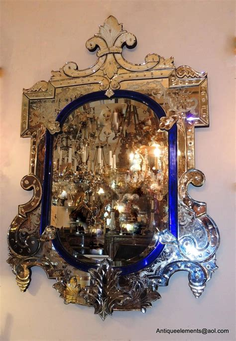 Antique Venetian Glass Mirror Wonderful Vintage Italian Blue And Beveled Glass