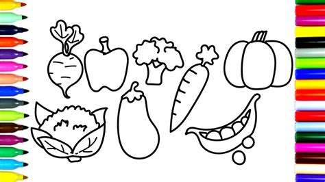 vegetables drawing fruits and vegetables drawing with color clipartxtras