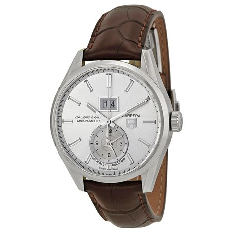 Tag Heuer Calibre 8 Silver Brown Leather tag heuer calibre 8 automatic silver brown