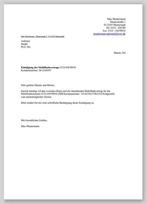 Musterbrief Kündigung Handyvertrag Kostenlos K 252 Ndigung Mobilfunkvertrag Muster