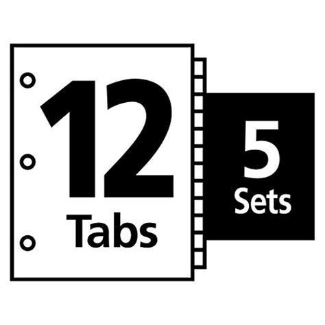 Avery Index Maker Clear Label 8 12 X 11 Inches Dividers With 12 White Tabs 5 Pack 11429 Avery 12 Tab Template 11429