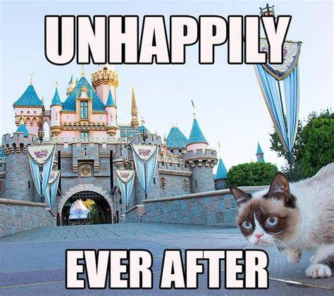 Disneyland Meme - unhappily ever after grumpy cat pinterest disney
