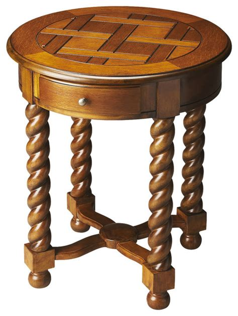 oak accent tables butler brockton vintage style oak round accent table