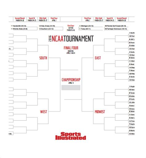 bracket template sle tournament bracket 5 documents in pdf