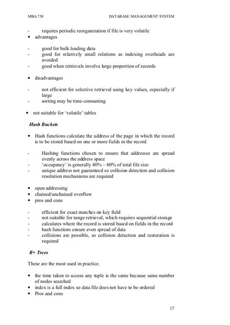 Mba Database by Mba 758 Database Management System