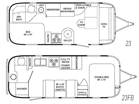 airstream floor plans airstream flying cloud travel floorplans 23 and 23 fb