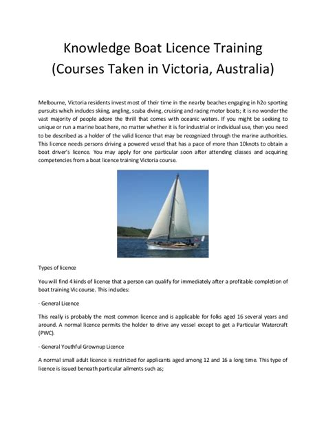 knowledge boat licence training courses taken in victoria - Boat License Victoria Course