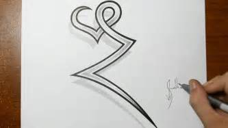drawing the letter z combined with a heart tattoo ideas