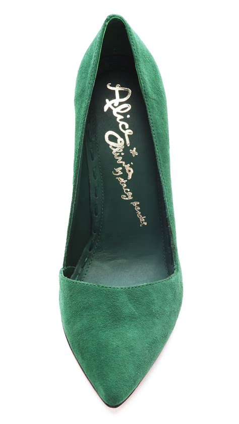 alice olivia dina suede pumps  green lyst