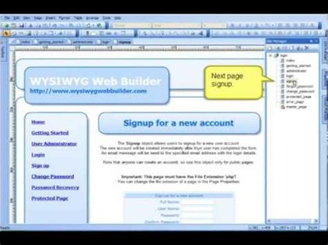 tutorial wysiwyg web builder pdf login demo protected pages tutorial with wysiwyg web