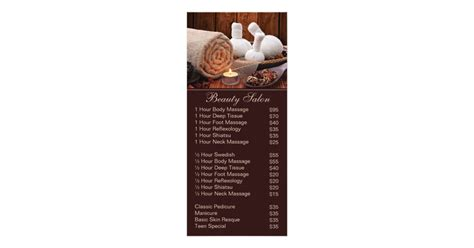 spa massage salon service menu  price list zazzlecom