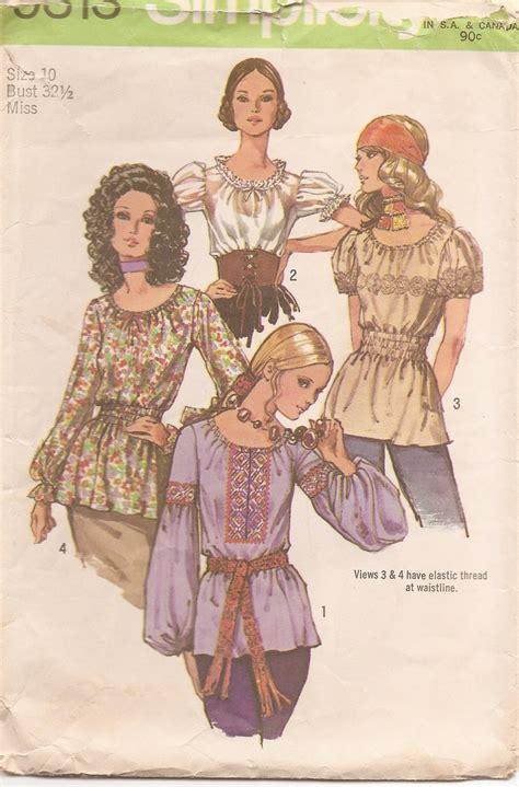 vintage pattern blouse great 1970s boho peasant blouse vintage sewing pattern