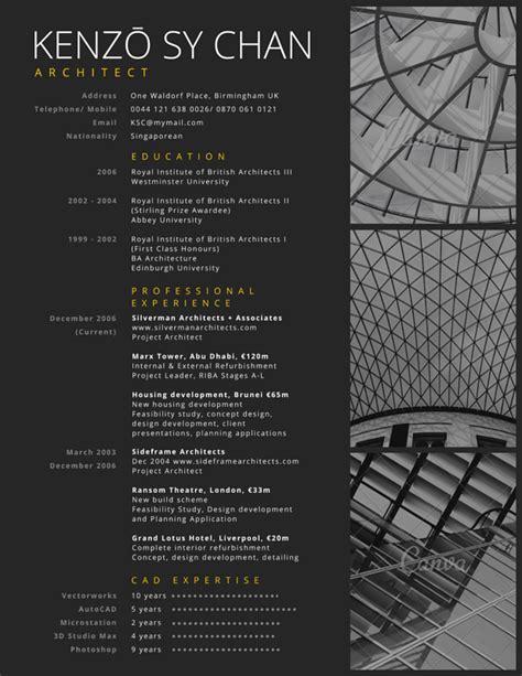 canva portfolio professional architect resume canva portfolio