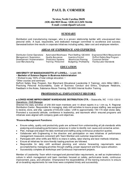 prepossessing manufacturing manager resume in entry level supervisor resume sle production