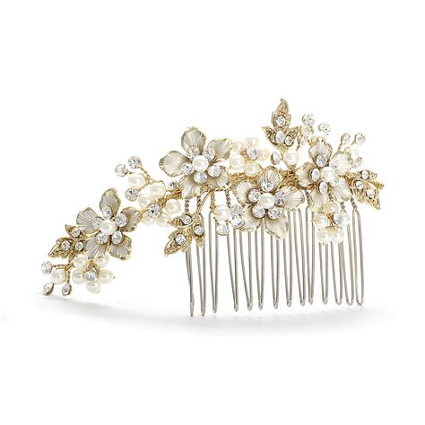 decorative hair combs decorative hair comb gold ivory pearl wedding comb side