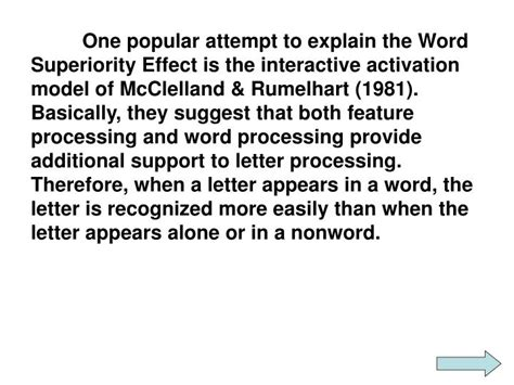 attention pattern recognition word superiority effect ppt reicher 1969 word superiority effect powerpoint