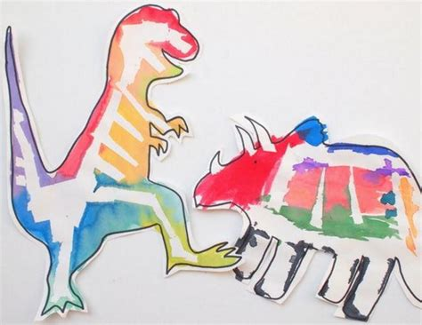 Paper Dinosaur Craft - painted paper dinosaur crafts for