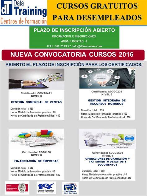 programa de trabajo para el curso 2015 2016 nuevos cursos gratuitos 2016 de formaci 243 n ocupacional para