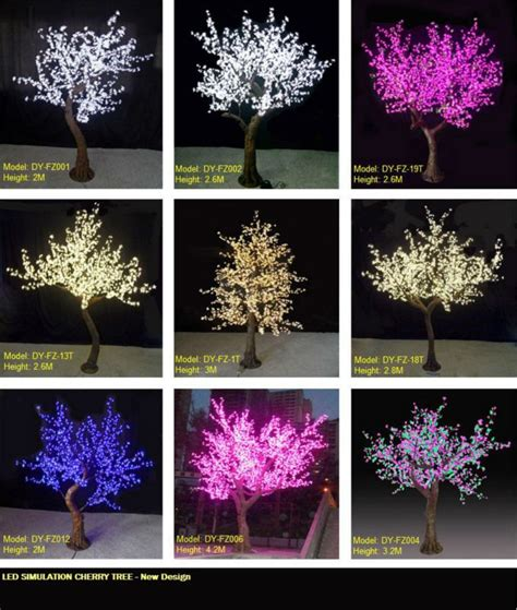 Indoor Led Artificial Plant Tree White Cherry Blossom Small Pink Tree With Lights