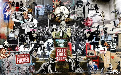 Wall Murals Cityscapes banksy collage montage new modern graffiti art canvas